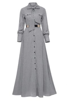 Ericdress Tie-Neck Button Bow Long Sleeve Women's Maxi Dress – Daily Posts for Women