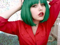 Get the look with our green bob. Available here: http://cosplaywigsusa.com/cosplay-wigs-usa/cosplay-bobs-seafoam-green/