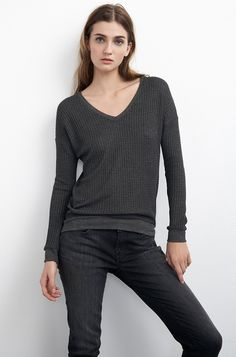 VELVET By Graham & Spencer Lux Waffle Knit V Neck Pullover Top Charcoal S $99 #VelvetbyGrahamSpencer #Tee #Casual