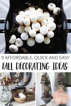 Seasonal decorating doesn't have to mean an entire room makeover! Here are 9 affordable, quick and easy fall decorating ideas that you can use in your home this autumn! Easy Diy Crafts, Diy Home Crafts, Diy Home Decor, Diy House Projects, Easy Diy Projects, Decorating On A Budget, Fall Decorating, Blogger Home, Diy Home Furniture