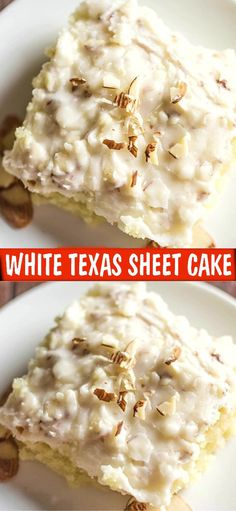 WHITE TEXAS SHEET CAKE This is a delicious, creamy, moist cake with a nice crunch to it because of the almonds. And let's not forget that it will feed a nice bunch of people! White Sheet Cakes, White Texas Sheet Cake, Dessert Simple, Cupcakes, Cupcake Cakes, Sweets Cake, Sheet Cake Recipes, Almond Sheet Cake Recipe, Frosting Recipes