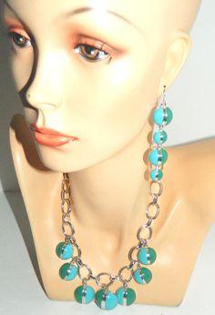 """Vtg Mod Liz Claiborne LC TURQUOISE BLUE/JADE GREEN 18""""Necklace 3.5""""Long Earrings #LizClaiborne"""