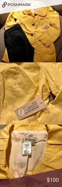 NWT Sateen Jacket with Polka Dots 💐🐣 NWT adorable sateen jacket that buttons down. Yellow with white polka dots. Perfect for Easter or the spring! Will add color to your outfit! Smoke free home. A La Carte Jackets & Coats
