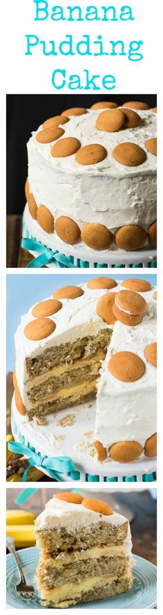 Banana Pudding Cake Recipe ~ A layer cake with all the flavor of banana pudding. Between the layers is a creamy banana pudding filling with Nilla wafers and fresh banana slices. The cake is covered in a delectable whipped topping frosting