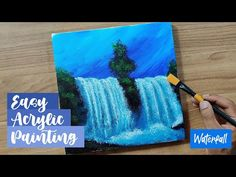 Easy Waterfall Painting | Acrylic painting | Step By Step Painting For Beginners - YouTube