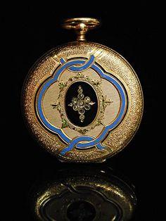 Antique 14k Gold Enamel Pocket Watch