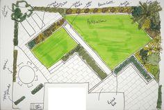 New Garden Design Layout Small Water Features Ideas Back Garden Design, Garden Design Plans, Farmhouse Landscaping, Garden Landscaping, Landscape Plans, Landscape Design, Small Water Features, Narrow Garden, Patio Layout