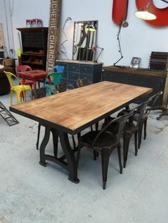 Oak Topped Machine Table with Cast Iron Legs