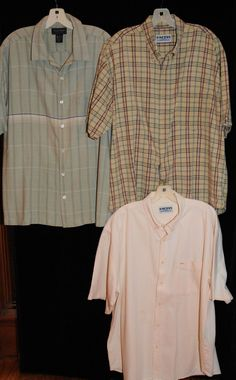 b4979e0030be Mens Shirt Lot of 3 Size XL Casual Resort Camp Button Front Stripe Check  Solid