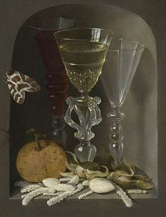 A Still Life of Three Wine Glasses, an Orange, Sweetmeats, Hazelnuts and a Moth in a Stone Niche, undated Artist: Osias Beert (c.1580-1624) Location: Private Collection Original Size:22.5 x 18 cm