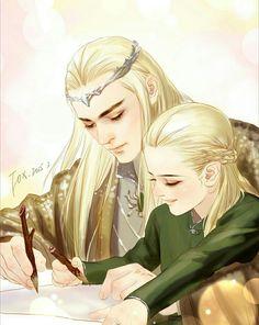 i'm not sorry about my elf problem — Thranduil & Legolas by 狐狸大王a Legolas Et Thranduil, Gandalf, Tauriel, Lotr, Mirkwood Elves, O Hobbit, J. R. R. Tolkien, Into The West, The Elf