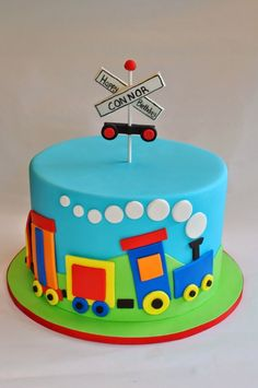 Inspiration Picture of Train Birthday Cake Train Birthday Cake Train Cake Hopes Sweet Cakes Hopessweetcakes Hopes Sweet - Mutivtorten - Kuchen Birthday Cake Kids Boys, Trains Birthday Party, Birthday Cake With Candles, Birthday Cakes For Men, Birthday Cake Decorating, First Birthday Cakes, Train Birthday Cakes, Train Party, Birthday Decorations