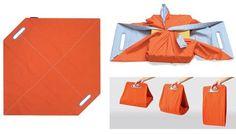 Furoshiki-Bag - (c) Genta Design 2004 Furoshiki Bag, Furoshiki Wrapping, Gift Wrapping, Origami Bag, Fabric Origami, Fabric Gifts, Fabric Bags, Japanese Wrapping, Japanese Bags