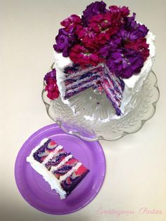 Striped Tea Party Cake Tutorial...the flowers look gaudy...think I would leave that part off.