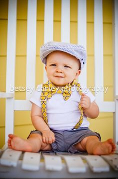 Bow tie, Bowtie, Boys Boytie, Vintage Yellow and Grey Bowtie and Suspender Set, Bowtie and Suspender set for newborn, toddler and boys on Etsy, $35.00