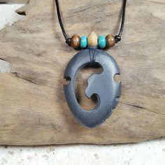 Mens Hawk Arrowhead Necklace hand carved natural stone pendant tribal jewelry primitive hawk pendant wearable art stone arrow head necklace