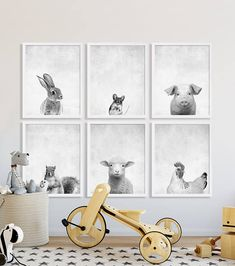 Animal Nursery Prints Large Nursery Art Modern Nursery Decor Animal Portraits Baby Shower Gift Ideas Bunny Mouse Squirrel Sheep Chicken