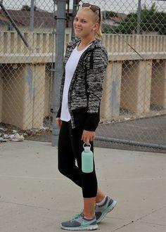 Workout wear in a Zella jacket, Target capri and Nike shoes + a BKR water bottle