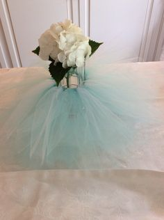 Aqua blue vase tutu for Baby , Bridal or Wedding centerpiece by LillyJake on Etsy