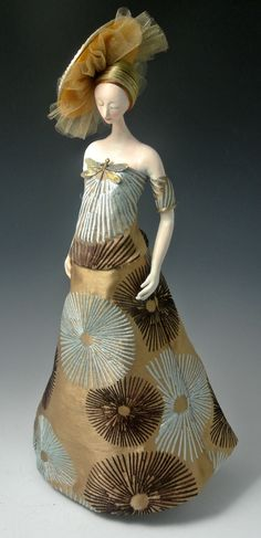 """Cindee Moyer - Lure of the Anemone Paper Clay, fabric 20"""" 2012-2013"""