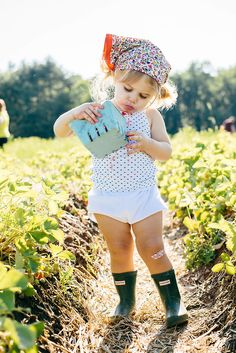 Strawberry picking cutie!