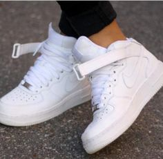 shoes nike sporty style white, high tops, nike white high top air force ones