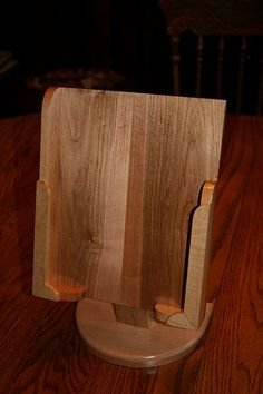 Picture of Wooden iPad Stand with recycled hard drive parts