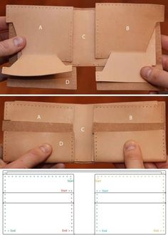 how to make a leather wallet. Or a DUCT TAPE wallet Crea Cuir, Leather Tutorial, Wallet Tutorial, Diy Wallet, Simple Wallet, Creation Couture, Leather Pattern, Leather Projects, New Bag