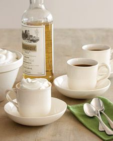 Irish Coffee:  1 cup heavy cream  1/4 cup sugar  3 cups strong hot coffee  4 ounces Irish whiskey, such as Knappogue Castle  Directions    Whisk cream and sugar together in a medium bowl until stiff peaks form. Divide coffee and whiskey among 4 coffee cups, then top each with 1/2 cup whipped cream. Serve immediately.