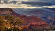 #GrandCanyon #HDR #Panorama with #Sunbeams over the #Mountains and the #Valley - more on www.travel-photographs.net