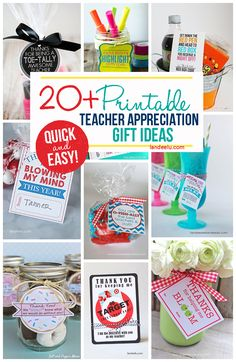 Quick and easy FREE printable little gifts for teachers!  Perfect for a DIY Teacher Appreciation Week Gift!