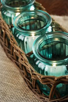 Willow Basket with Teal Jars