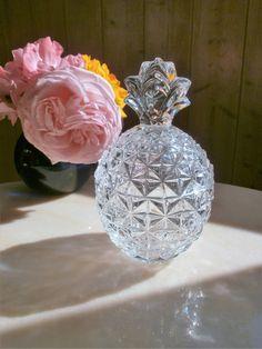 Vintage Crystal Pineapple Candy Bowl//Sugar bowl//Bonbonnière ananas en cristal//Sucrier exotique//années 50 de la boutique FrenchVintageByManue sur Etsy