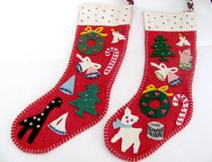 Vintage Christmas Stockings 1960's Felt by ThirstyOwlVintage