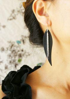Statement earrings, Black Feather Chain tassel chandelier, metal feather sterling silver chain tassel fringe earrings statement jewlery on Etsy, $28.50