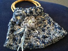 Little blue Summer tote made of lovely ribbon   by Handknittedhugs, $48.00