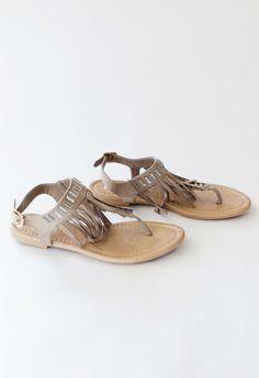 Fringe and rhinestone sandals <3