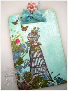 DIY clipboard:: 'Spruced Up' Clipboard by rebeccadeeprose - Cards and Paper Crafts at Splitcoaststampers