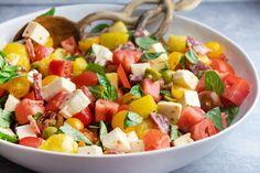 Antipasti Caprese Salad Giada Recipes, Salad Recipes, Cooking Recipes, Italian Recipes, Italian Dinners, Fresh Mozzarella, Barefoot Contessa, Antipasto, Soup And Salad