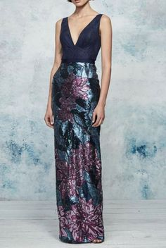 Marchesa Notte N27G0822 Navy Sleeveless Floral Sequin Evening Gown | Poshare
