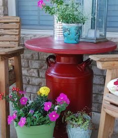 100 Best DIY Front Porch Decorating Ideas Charm Spring Porch Reveal from Fun Home Things<br> From farmhouse styled porches to small front porches and porch ideas on a budget, there are front porch decorating projects for everyone. Diy Porch, Diy Patio, Backyard Patio, Porch Ideas, Patio Table, Patio Ideas, Milk Can Table, Milk Can Decor, Old Milk Cans