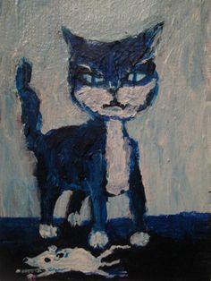 """1000 CATS  #938 original art.  jack larson 3.5""x2.5"" art card ACEO folk art"
