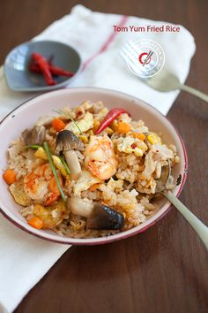 Tom Yum Fried Rice Recipe. Your favorite Thai soup made into fried rice, delicious and appetizing. Learn how to make this amazing dish at home. http://rasamalaysia.com