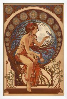 Woman and Bird - Art Nouveau Art Print by Lantern Press at Art.com