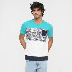 Camiseta Colcci Estampada Tropical Bolso Off White e Azul   Zattini