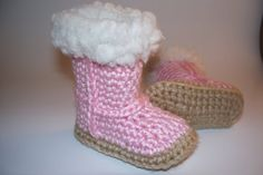 Pink Baby Uggie Booties  Wool Trim Uggs Shower by anniekscreations