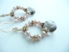Smoky Quartz and Freshwater Pearls Earrings in 14K by kotan, $75.00