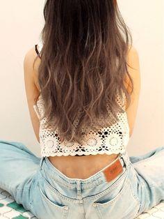 ヘアーサンディ hair SUNDY ★ 「外国人風」透明感グラデーションカラーsemilong ★ Hair Arrange, Hair Reference, Hair Highlights, Crochet Top, Highlighted Hair, Hair Makeup, Hair Color, Hair Beauty, Style Inspiration