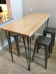 Pub/Bar Height Hairpin Table Legs, 41 Inch 3 Rod Raw Steel (Set of Heavy Duty Rods and Weld, Solid Steel Rods, w/Screws Hairpin Table, Bar Table, Table Design, Table Legs, Metal Table Legs, Dining Table, Table, Retro Dining Table, Hairpin Leg Table