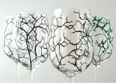Beautiful painted wine glasses #etsy #marywibis